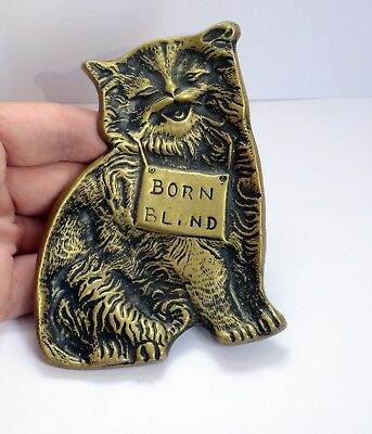 'Born Blind' - Superb Antique Solid Brass Coin Collection Dish featuring Cat
