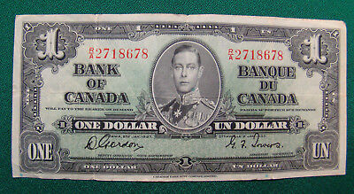 1937 Bank Of Canada One 1 Dollar Bank Note Ra 2718678 Nice Bill / Free Shipping