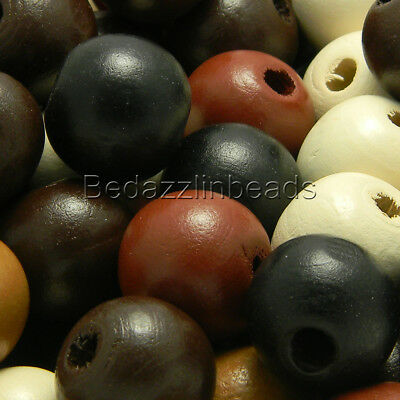 "50 Big Assorted Natural Colored 20mm 3/4"" Round Loose Wood Beads with Large Hole"