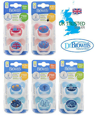 Dr Brown's Baby Soother Dummy Pacifier Teat Nipple 0-6m / 6-12m / 12m+ Twin Pack