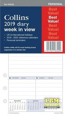 Collins 2019 Personal size Diary - Week To (In) View Insert Refill PR2700-19