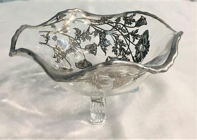"Vintage Floral Silver Overlay Clear Glass Footed 6"" Bowl Candy Dish"