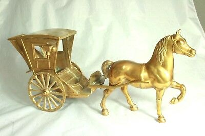 Vintage Large Brass Castings Horse and Carriage 3.1Kg