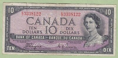 1954 Bank of Canada 10 Dollar Note Devil's Face- Coyne/Towers- E/D3338122 - Fine