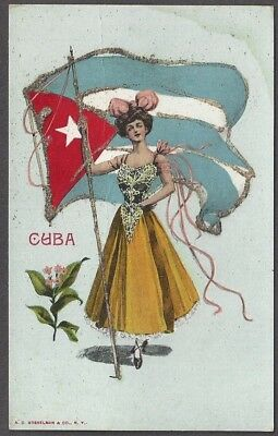 CUBA ~ WOMAN IN FANCY DRESS HOLDING THE COUNTRY'S FLAG ~ c 1904-14