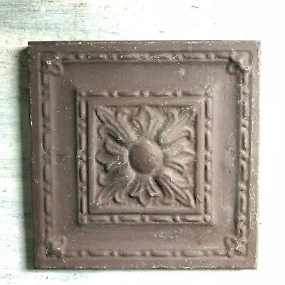 "11"" x 11"" 1890's Wrapped Tin Ceiling Tile Reclaimed Salvage Brown 469-18"