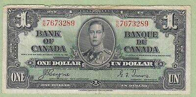 1937 Bank of Canada One Dollar Note - Coyne/Towers - R/N7673289 - VG/Fine