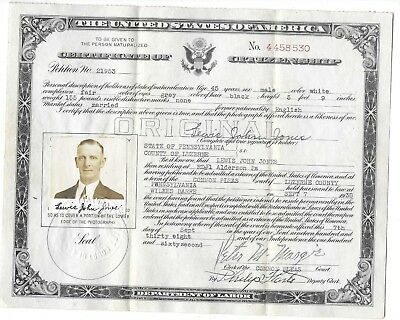 Vintage U.s. Certificate Of Citizenship Sept. 1938 With Declaration Of Intent