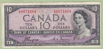 1954 Bank of Canada 10 Dollar Note Devil's Face- Coyne/Towers - D/D0871684 - VF