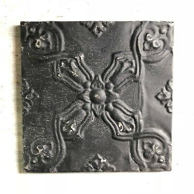 "11"" x 11"" 1890's Wrapped Tin Ceiling Tile Reclaimed Salvage Black 459-18"