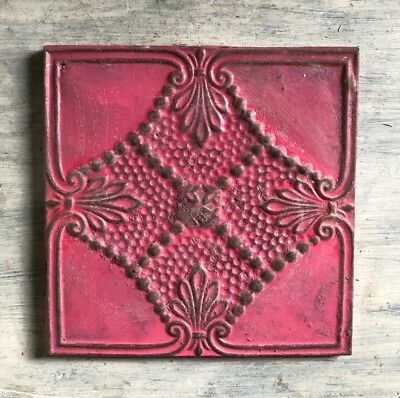 """11"""" x 11"""" 1890's Wrapped Tin Ceiling Tile Reclaimed Salvage Pink 457-18"""