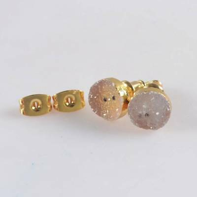 8mm Round Natural Agate Druzy Geode Stud Earrings Gold Plated H120645
