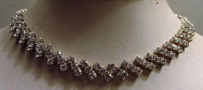 Vintage 50's Glass Crystal Rhinestone Collar Necklace Clear Prong Set