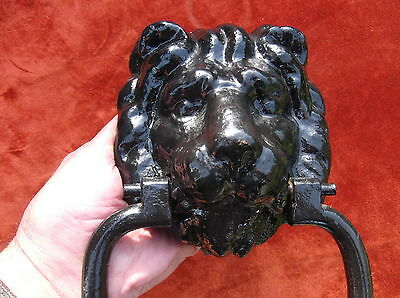 Large Antique Very Heavy Cast Iron Lion Door Knocker/old Iron Lion Door Striker