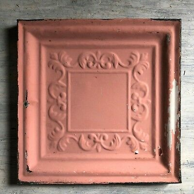 "11"" x 11"" 1890's Wrapped Tin Ceiling Tile Reclaimed Salvage Pink 458-18"