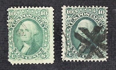 CKStamps: US Stamps Collection Scott#68 (2) 10c Washington Used 2 Shades