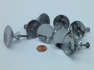 8 Art Deco Drawer Pulls, Chrome Plated Steel, NR!