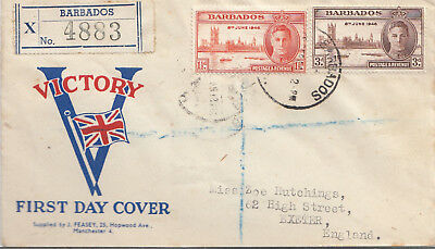 "Barbados Registered ""Victory"" first day cover to Exeter"