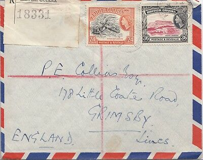 British Guiana 1956 registered cover to grimsby