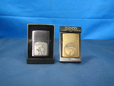 2 Zippo Lighters Camel On Moterbike Front Emblem Midnight Chrome Finish Rare