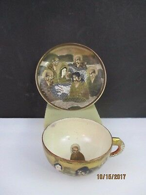 Fine Antique Japanese Satsuma Cup And Saucer -  Meiji Dragon And Holy Men