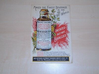 c1900 Mason's Extract Of Herbs Illustrated Colour Advertising Leaflet Double Sid