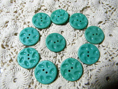 Molded Flower-ish Casein Buttons Set of 10 Unused Vintage Turquoise Green K56