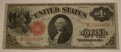 1917 $1 One Dollar United States Bank Note Legal Tender WASHINGTON Red seal