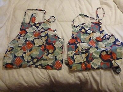 Vintage Full Baking Aprons-- Matching Pair Of 2
