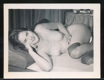 1960s Original 4 x 5 Nude Photo Sweet & Pretty Brunette NYLONS