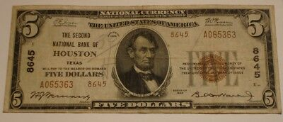1929 $5 Five Dollar National Currency Bank Note HOUSTON TEXAS Brown SEAL
