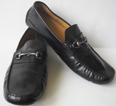 0044b48d2f7 COLE HAAN Black Leather Diving Shoes with Horsebit Silver Buckle - Mens  Size 13