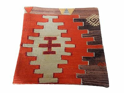 "Old Tribal Turkish Kilim Pillow Cover 16"" by 16"""