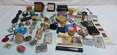 Large Junk Drawer Lot Currency Compacts Pocket Knives + MORE