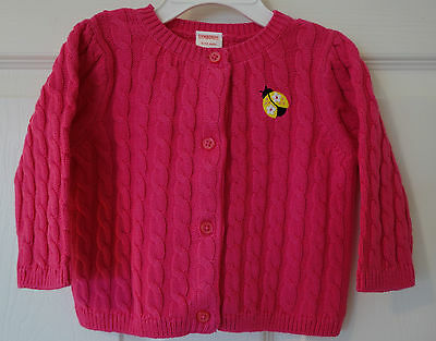 NWT Gymboree Pretty Lady Pink Cable Knit Ladybug Cardigan Sweater Girl's 6-12M