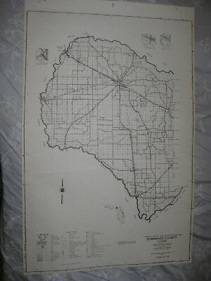 Huge Rare Antique 1956 Suwannee County Florida Map Live Oak Branford Detailed Nr