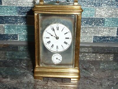 Small Petite Sonnerie Repeater Alarm Two Chime Brass Carriage Clock