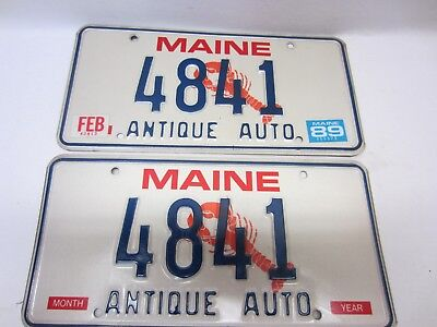 "PAIR of 1989 MAINE LOBSTER LICENSE PLATE ANTIQUE AUTO ""4841"" as pictured"