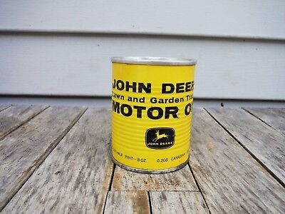 Vintage 1/2 Pint John Deere Lawn And Garden Tractor Motor Oil Can Full Rare! Nr!