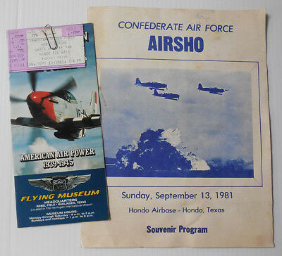 1981 Confederate Air Force AirSho Program, Tickets & Museum Brochure Hondo Texas