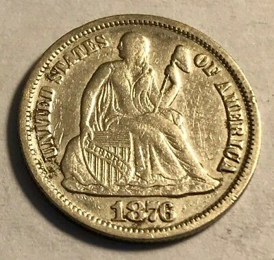 USA - Seated Liberty Dime - 1876cc - Carson City Mint - Silver Coin