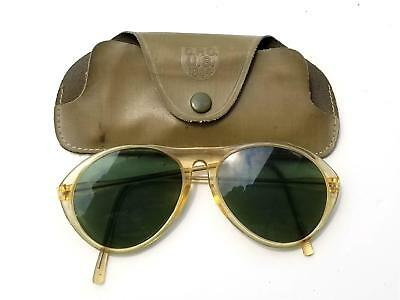 Classic Wwii Us Army Air Force Green Pilot Sunglasses & C.p.c. U.s. 1944 Case