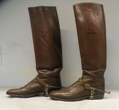 U.s. W.w.i Officer's Leather Boots With Spurs