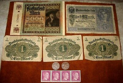 Old Wwii Germany Coins With Swastikas! German Stamps & Banknotes! #188