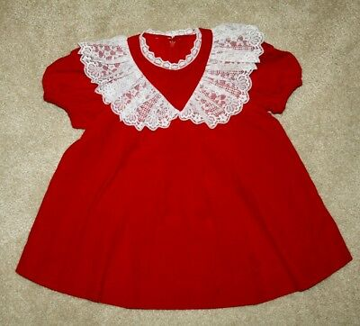 """Vintage Baby Dress-""""good Lad""""-Size 2T-Red-Lace White Collar & Trim-Back Zip-Cute"""