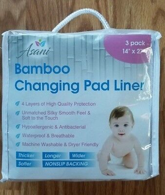 Bamboo Baby Changing Pad Liners with Waterproof Liners (3 pack) - Extra large