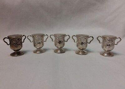 Godinger Silver Plated Place Card Holders Set of 5 Vases with Grapes