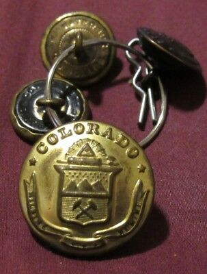 Vintage Set of 4 State of Colorado Dress Uniform Buttons! 2 Different Sizes!