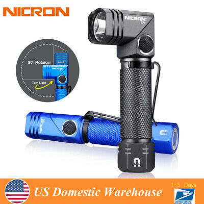 Nicron 480LM Magnetic Twist 90° Rechargeable LED Flashlight Torch Lamp B74