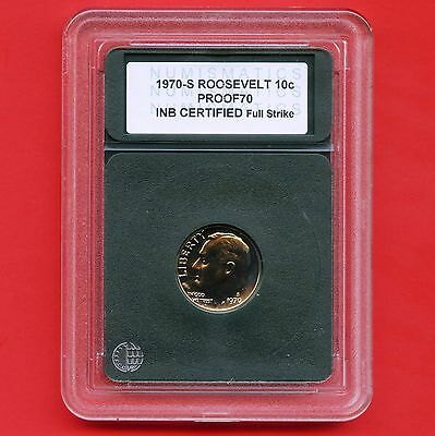 1970 'S' United States Dime Coin INB Certified Slab Proof 70